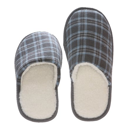 Deluxe Comfort Tartan Plaid Mens Memory Foam Slip-On House Slipper, Size 9-10 - Warm Cozy Wool Fleece Lining - Slip Resistant Durable Rubber Sole - Classic Checkered Plaid - Mens - Checker Slip
