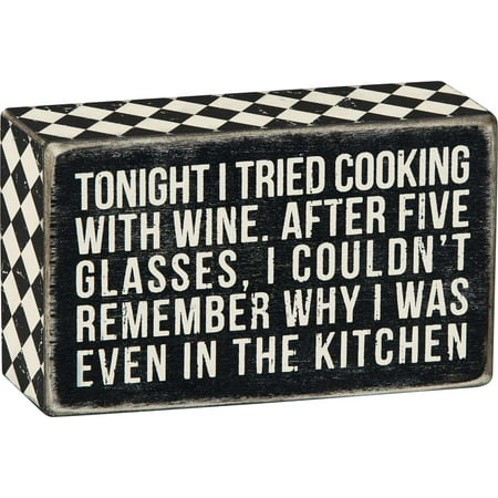 Engraved Wine Gift Box (Primitives Cooking with Wine Box Sign )