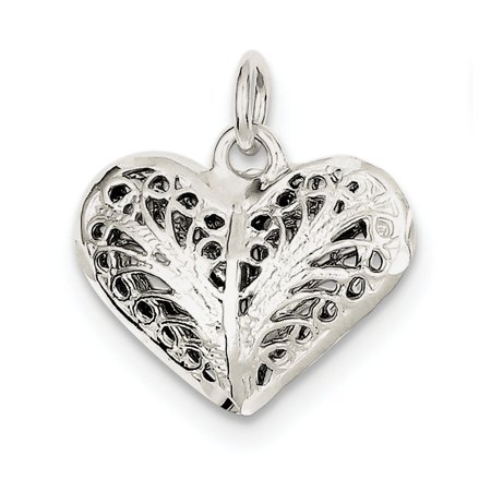 Roy Rose Jewelry Sterling Silver Filigree Heart Charm Sterling Silver Filigree Heart Charm