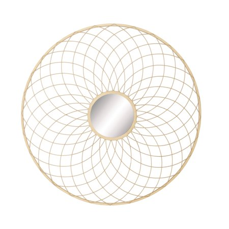 Decmode Glam 42 Inch Gold Tin Curved Wire Mesh Design Round Wall Mirror ,