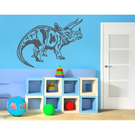Triceratops Wall Decal - dinosaur wall decal, sticker, mural vinyl art home decor - 3766 - Copper, 47in x 38in - Dinosaur Home Decor