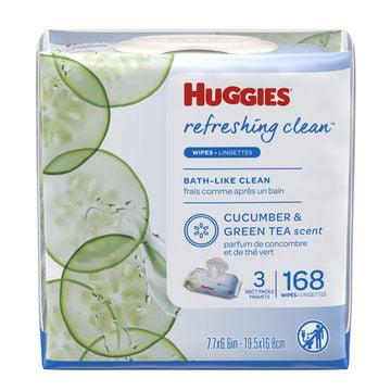 HUGGIES Refreshing Clean Baby Wipes 3x Flip-top Pack (168 Total Wipes)