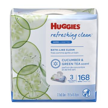 HUGGIES Refreshing Clean Baby Wipes 3x Flip-top Pack (168 Total Wipes)
