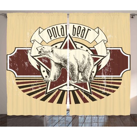 Animal Curtains 2 Panels Set, Vintage Retro Polar Bear Label with Bold Stripes Artwork Image, Window Drapes for Living Room Bedroom, 108W X 63L Inches, Peach White Black and Burgundy, - White And Burgundy