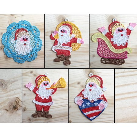 Santa Claus Pack 2 Machine Embroidered Lace Ornaments](Santa Pack)