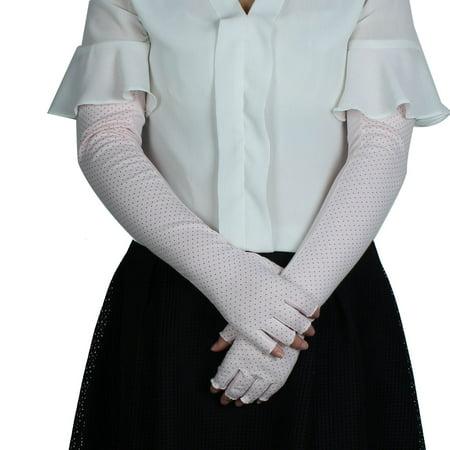 Women Summer Car Driving Arm Sleeves Half Finger Sun Resistant Gloves Pink Pair