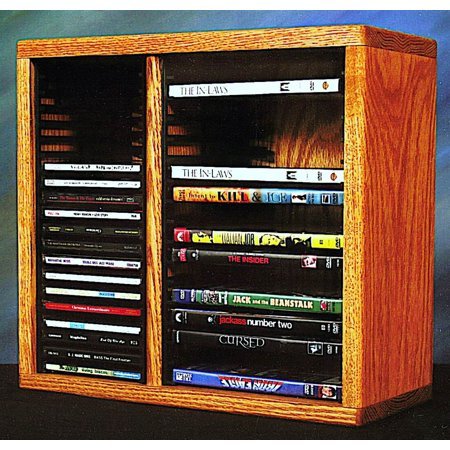 15.25 in. Desktop Media Storage w Individual Locking Slots (Honey Oak)