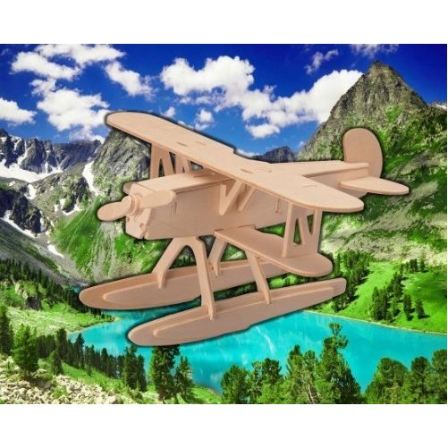 Puzzled Water Plane 3D Natural Wood Puzzle (27 Piece)