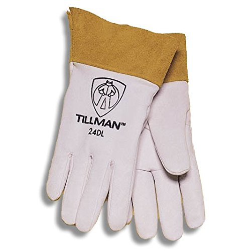 "24CS Kidskin Premium Grade TIG Welders Glove with Kevlar Stitching, Straight Thumb and 4"" Cuff, Small, Pearl Gray, Tillman Small Pearl Gray Kidskin Premium Grade TIG.., By John Tillman and Co"