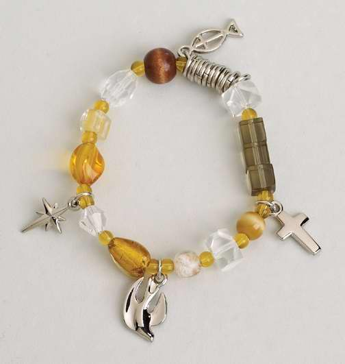 Bracelet-Christ's Story-Bead & Charm-Neutral-Stretch w/Prayer Card