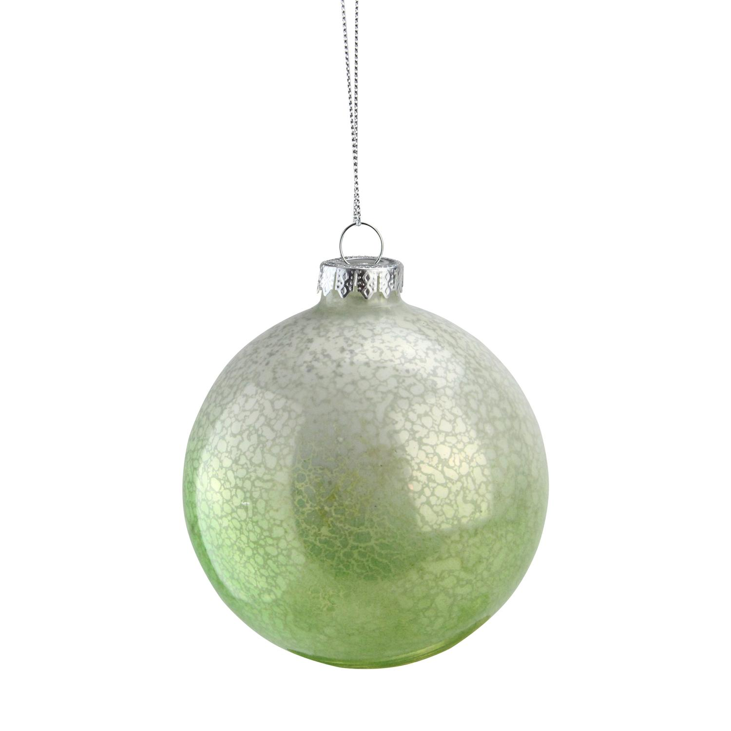 "4.5"" Green and White Spotted Glass Ball Decorative Christmas Ornament - image 2 of 2"