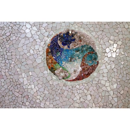 Peel-n-Stick Poster of Tile Broken Tile Mosaic Texture Park Guell Gaudi Poster 24x16 Adhesive Sticker Poster Print