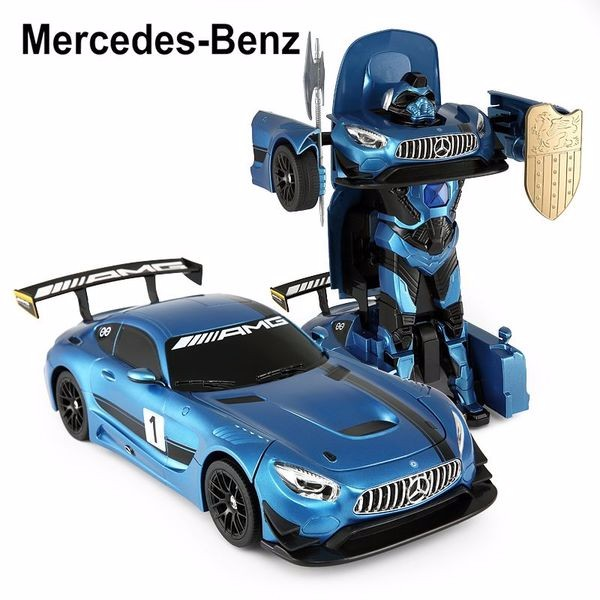 2.4Ghz Radio Remote Control 1 14 Mercedes-AMG GT3 Transformers Robot Model RC Car (Blue) by