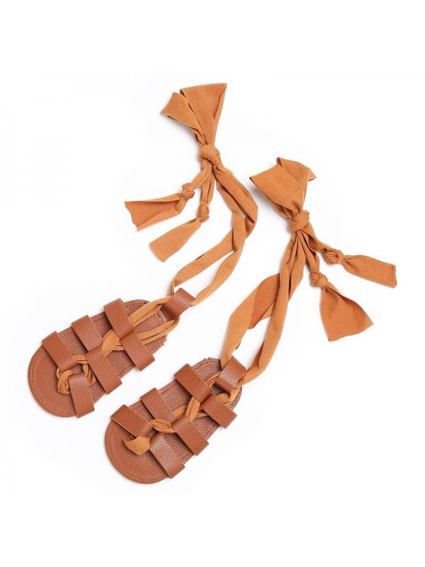 Nicesee Summer Baby Girls Leather Laces-Up Fringe Sandals