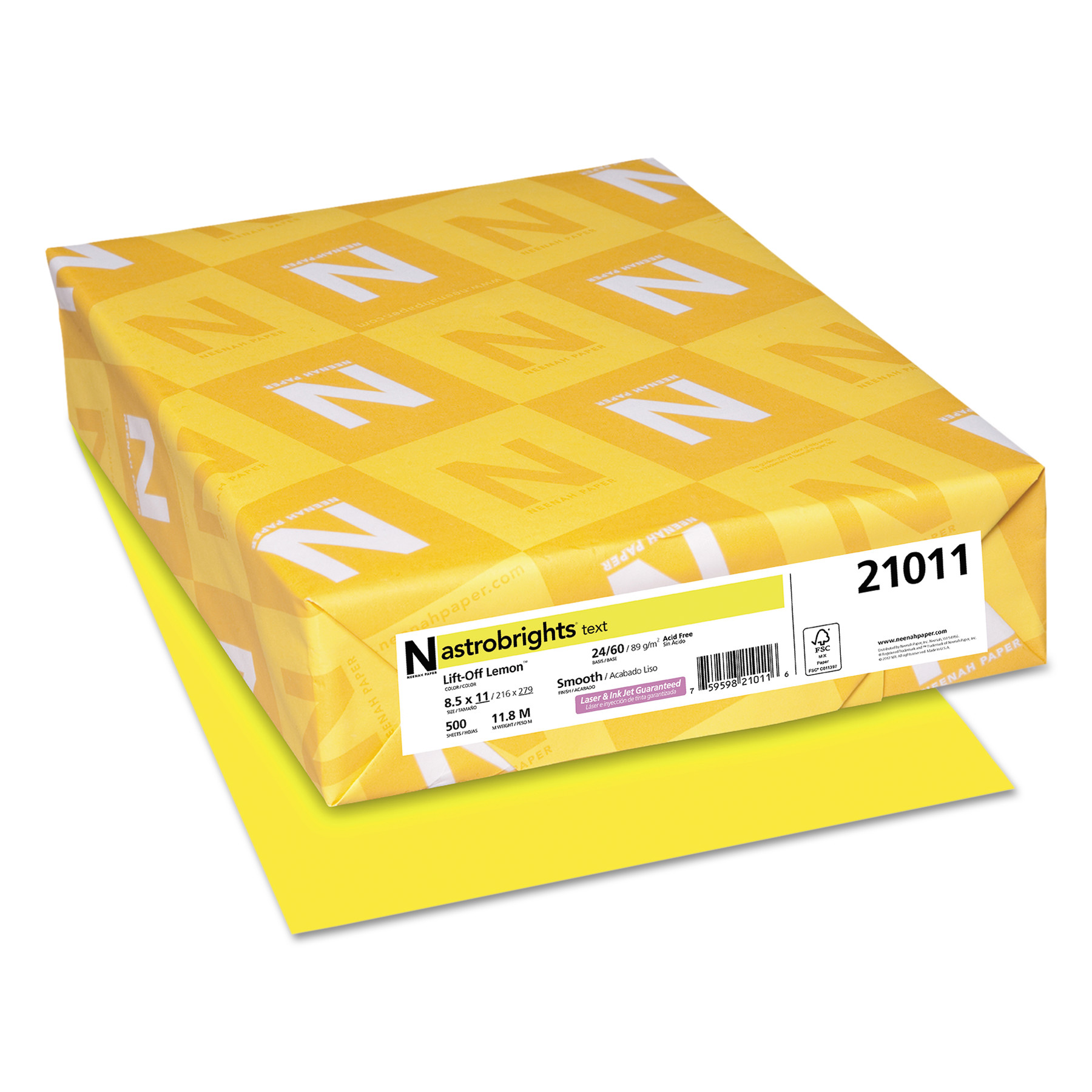 Astrobrights Color Paper, 24lb, 8 1/2 x 11, Lift-Off Lemon, 500 Sheets -WAU21011