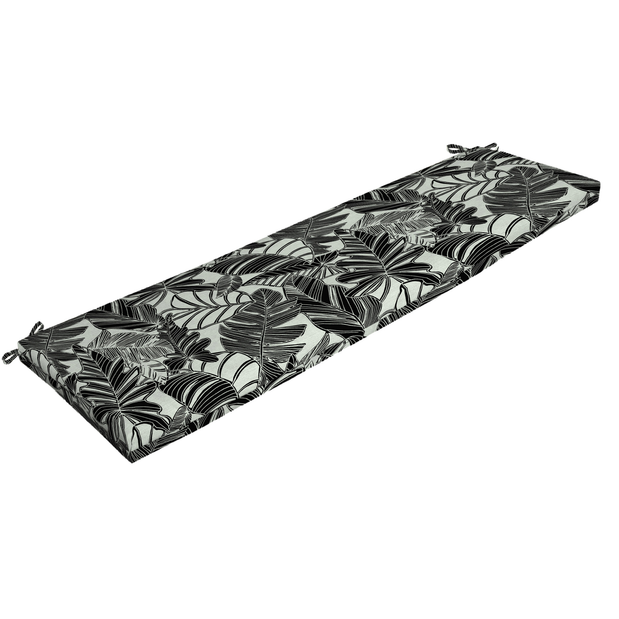 Mainstays Black and White Tropical 17 x 46 in. Outdoor Bench Cushion