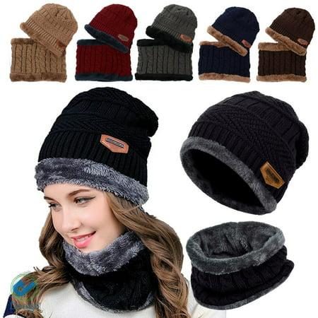 c331b941ca8fd8 Deago 2Pcs Winter Beanie Tactical Hat Scarf Set Warm Knit Hat Fleece Hat &  Scarf For Men Women - Walmart.com