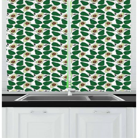 Avocado Curtains 2 Panels Set, Pattern with Doodle Avocado Slices Cut in Half Seed and Leaves Print, Window Drapes for Living Room Bedroom, 55W X 39L Inches, Emerald Pale Green Brown, by