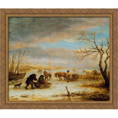 Frozen Ice Landscape with Carriages and Boats 32x28 Large Gold Ornate Wood Framed Canvas Art by Isaac van Ostade - Love Boat Isaac