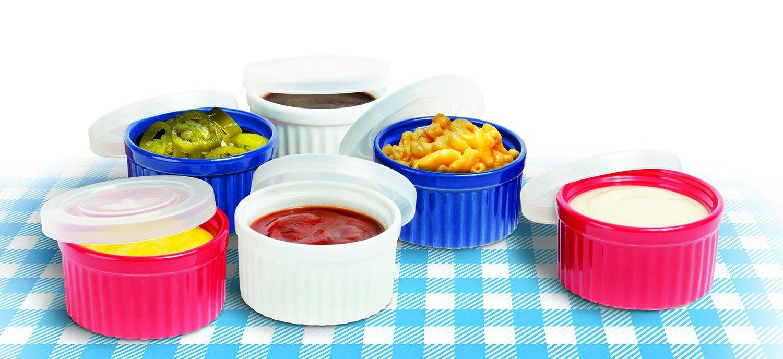 Colorful Ceramic Ramekins With Lids � Custard Cups Ramekin Set of 6 by