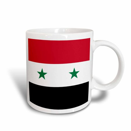 3drose Flag Of Syria Syrian Red White Black With Two Green Stars Middle East Arab Country Arabic World Ceramic Mug 15 Ounce