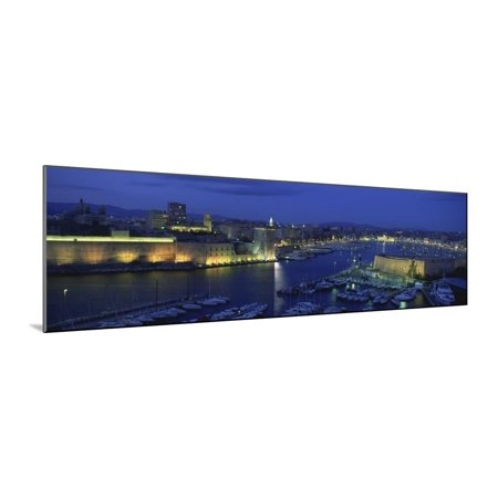 Boats Docked at a Port, Old Port, Marseille, Bouches-Du-Rhone, Provence-Alpes-Cote Daze, France Wood Mounted Print Wall Art (Old Port Wood)