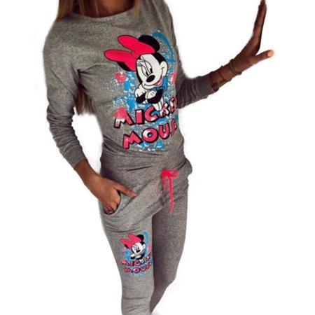 2Pcs Women Minnie Mouse Sport Tracksuit Cartoon Sweatshirt Pant Set Casual Suit
