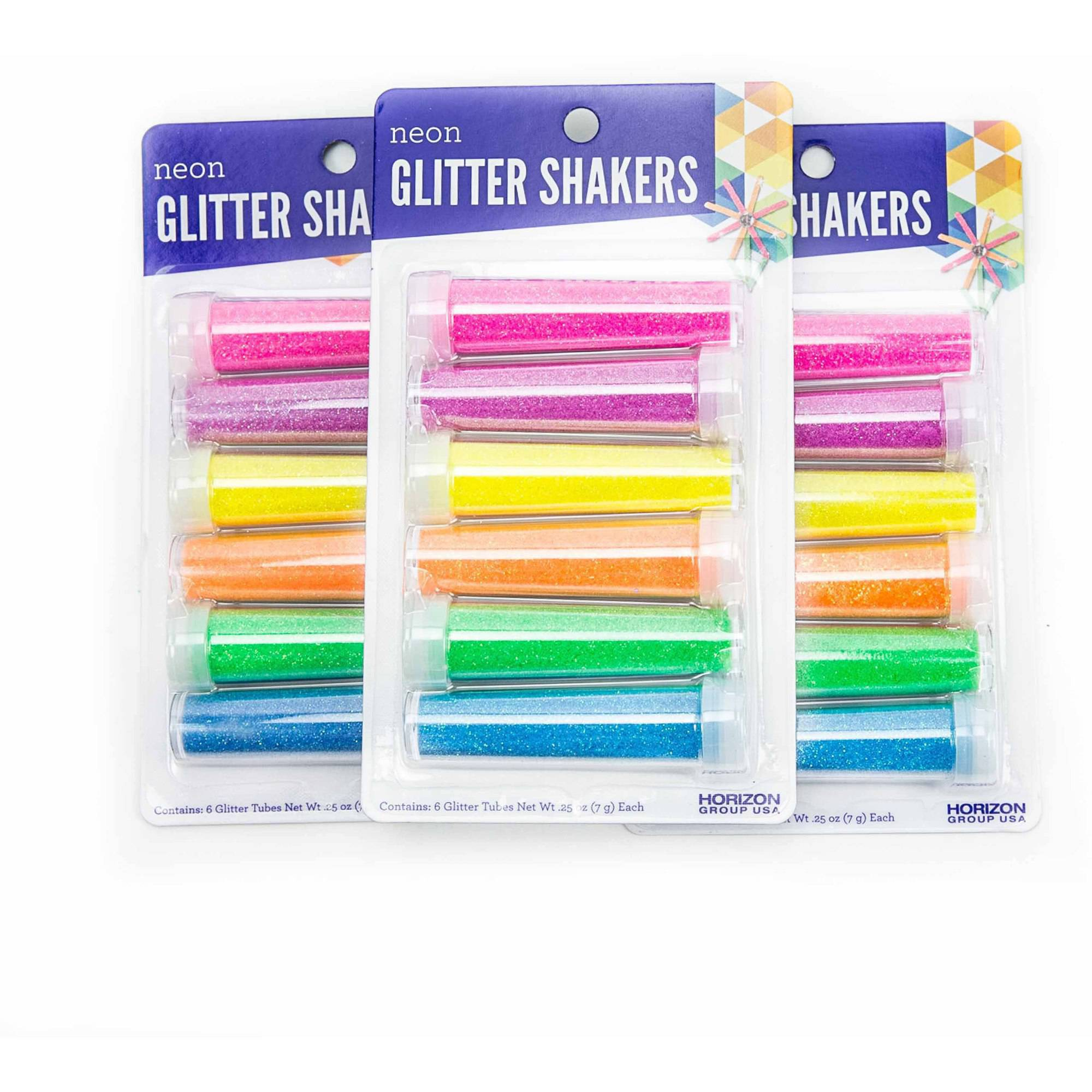 Assorted Neon Glitter Shakers, 3PKS - 6 ct. Each by Horizon Group USA