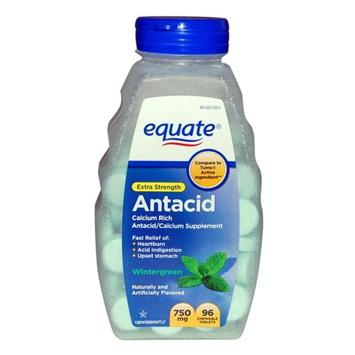 Equate Extra Strength Antacid Chewable Tablets, 750mg, 96 count