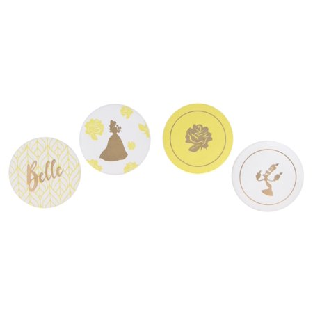 Themed Coaster (Beauty and the Beast Belle Themed Coaster Set – 4pc. Ceramic, Heavy Coasters - Ideal For Beauty and the Beast Disney Fans )