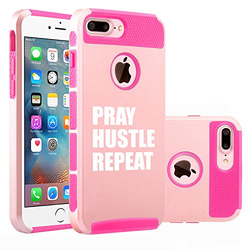 For Apple iPhone (7 Plus) Shockproof Impact Hard Soft Case Cover Pray Hustle Repeat (Rose Gold-Hot Pink)