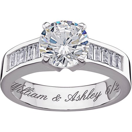 Personalized Sterling Silver CZ Engagement Ring