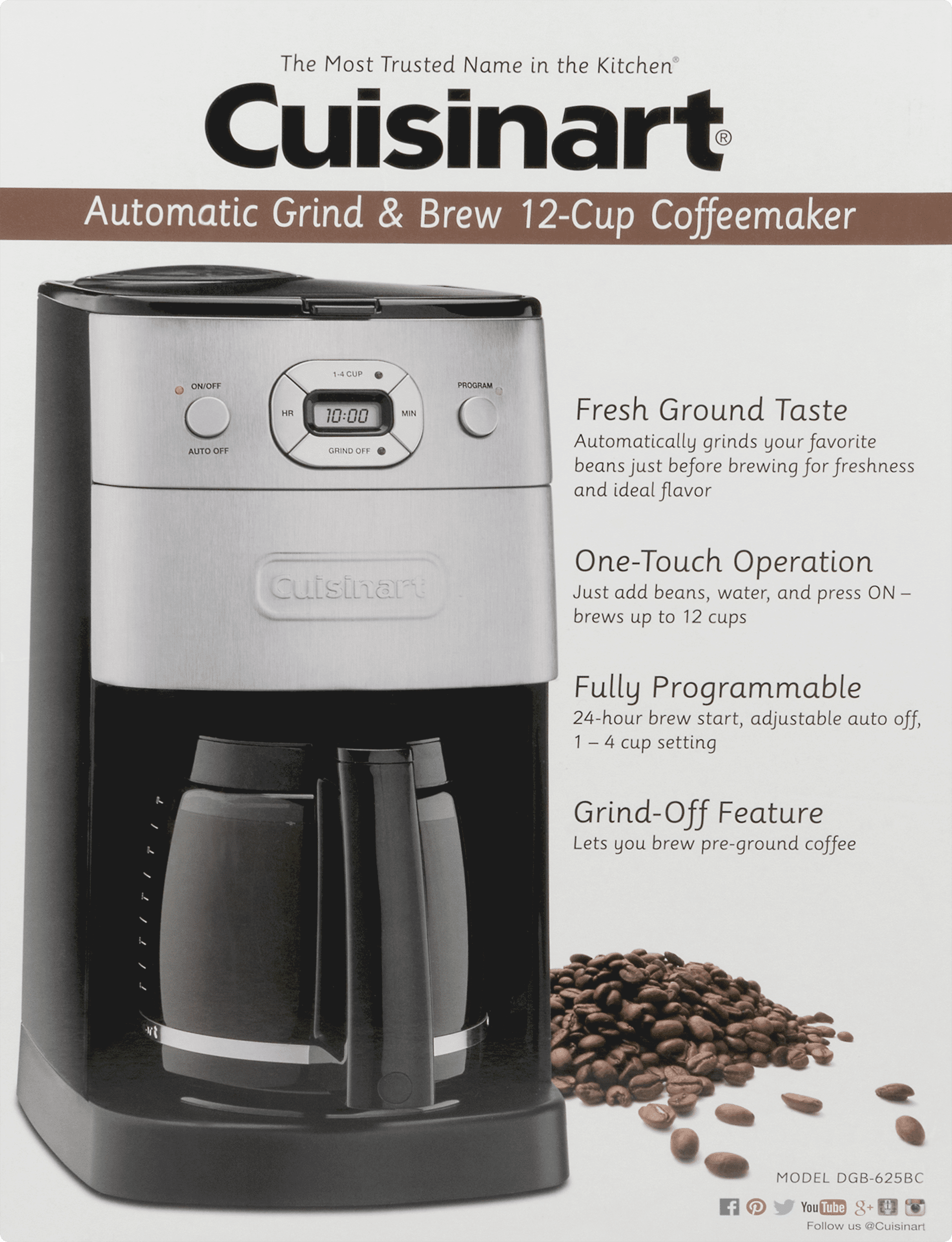 Cuisinart Grind And Brew 12 Cup Automatic Coffeemaker Walmartcom