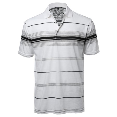 be04fce48 FashionOutfit Men's Casual Striped Short Sleeves Three-Button Polo T-Shirt