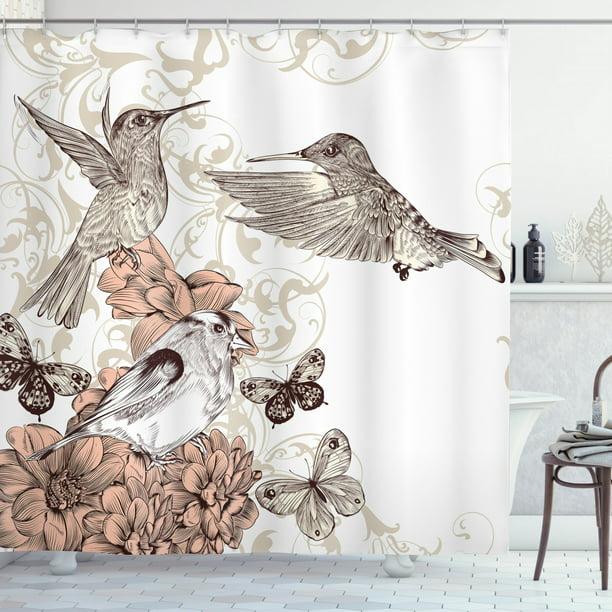Hummingbirds Decorations Shower Curtain, Hummingbird Bathroom Accessories