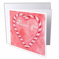 3dRose Christmas Candy Cane Heart Thank You, Greeting Cards, 6 x 6 inches, set of 6