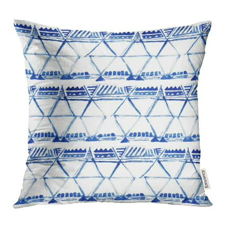 USART Blue Shibori Watercolor Ikat Ethnic Indigo Batik Ornamental Pattern Oriental Pillow Case Pillow Cover 20x20 inch Throw Pillow Covers ()