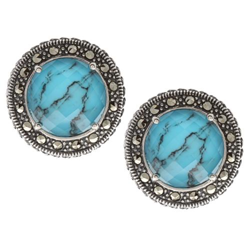 MARC  Sterling Silver Crystal & Turquoise Doublet and asite Earrings