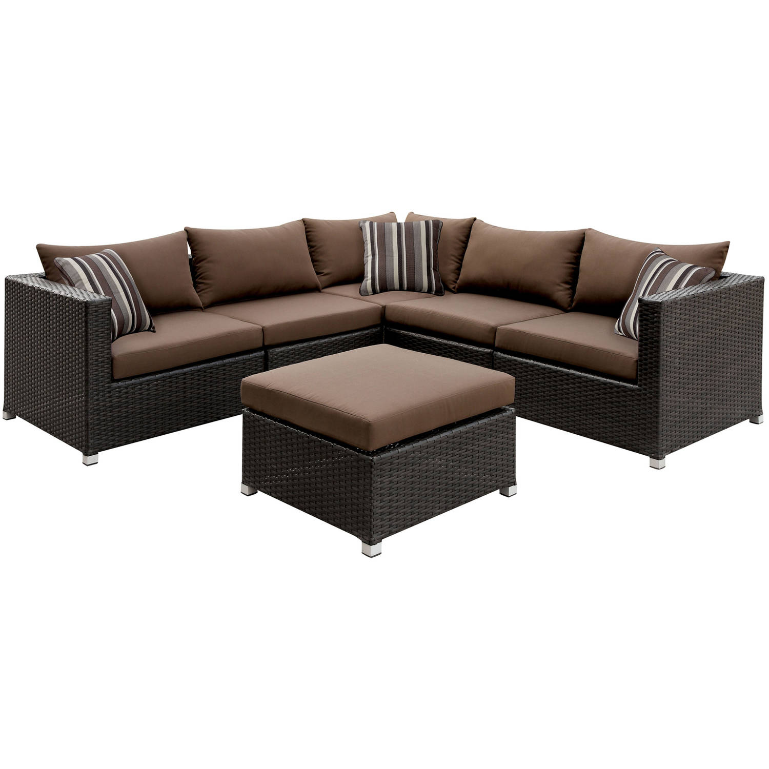Furniture of America Baca Patio Sectional and Ottoman Set, Ivory