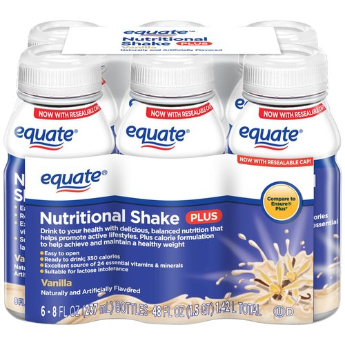 Equate Vanilla Nutritional Shake Plus, 8 fl oz, 6 count