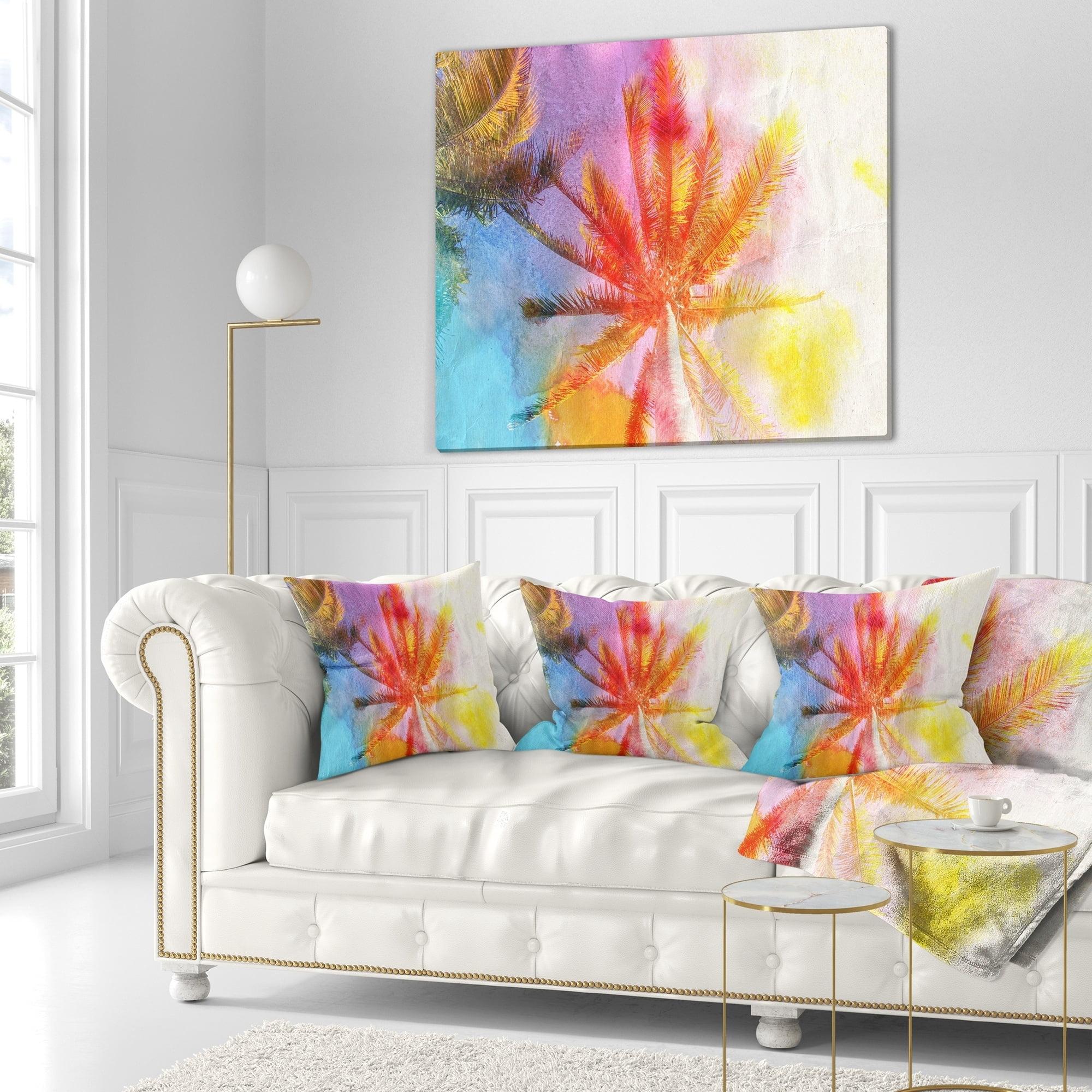 Design Art Designart Reflective Retro Palm Trees Landscape Painting Throw Pillow Walmart Com Walmart Com
