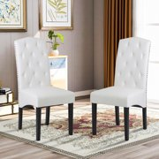 Modern Dining Chairs Set of 2, PU Upholstered Dining Chairs with Nailhead Trim and Solid Wood Legs, Dining Room Chairs, Classic Accent Chair for Living Room, Bedroom, Kitchen, White, W12208
