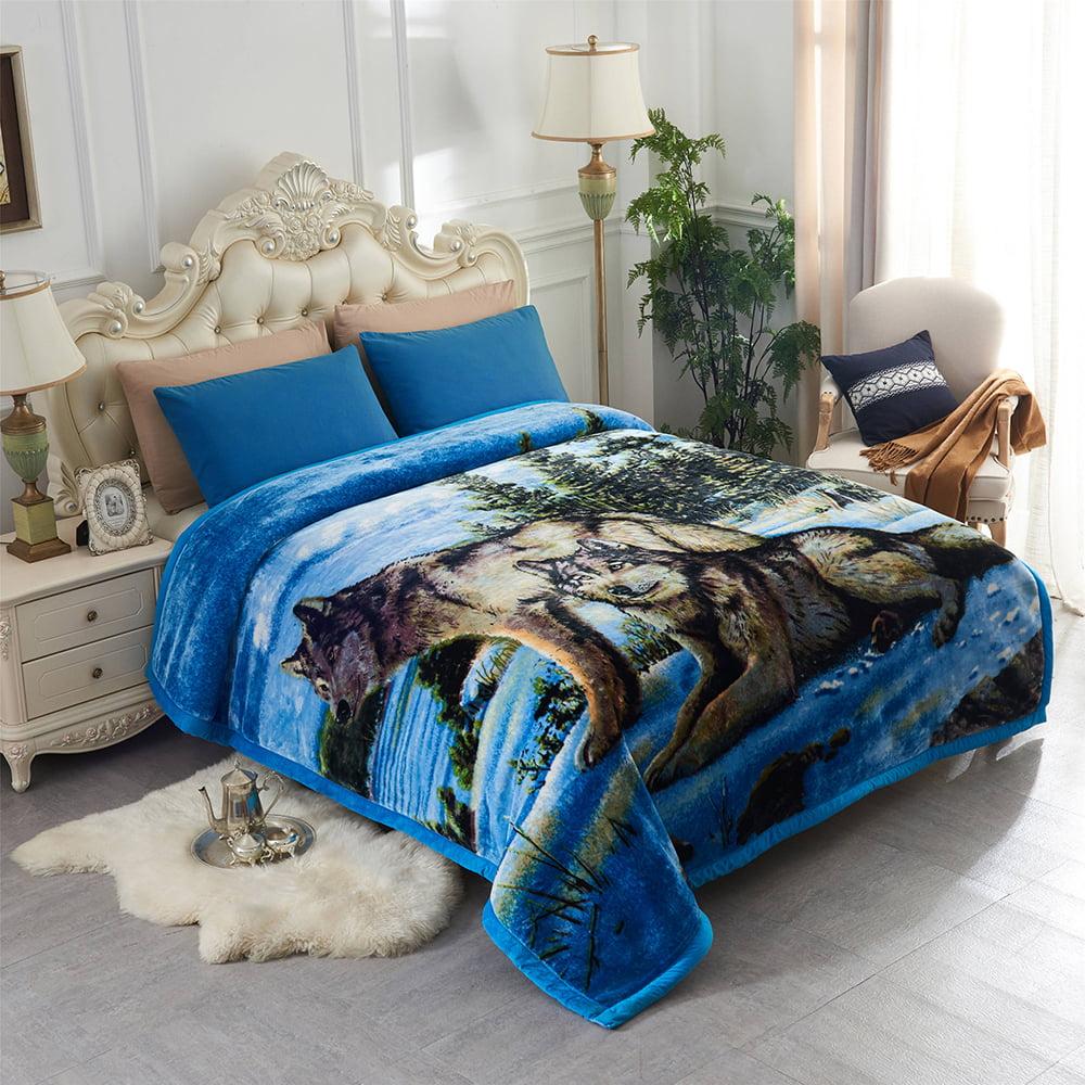 Queen Size Korean Mink Blanket 8 LBS Heavy Warm Super Soft Gray Blue Wolf Design