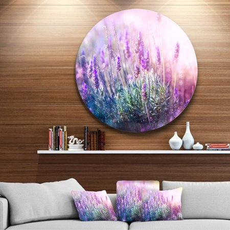 DESIGN ART Designart 'Growing and Blooming Lavender' Floral Photo Circle Metal (Best Way To Grow Lavender)