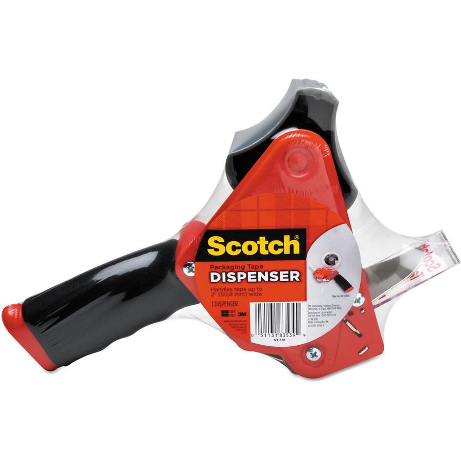 "Scotch Pistol Grip Packaging Tape Dispenser, 3"" core, Metal, Red"