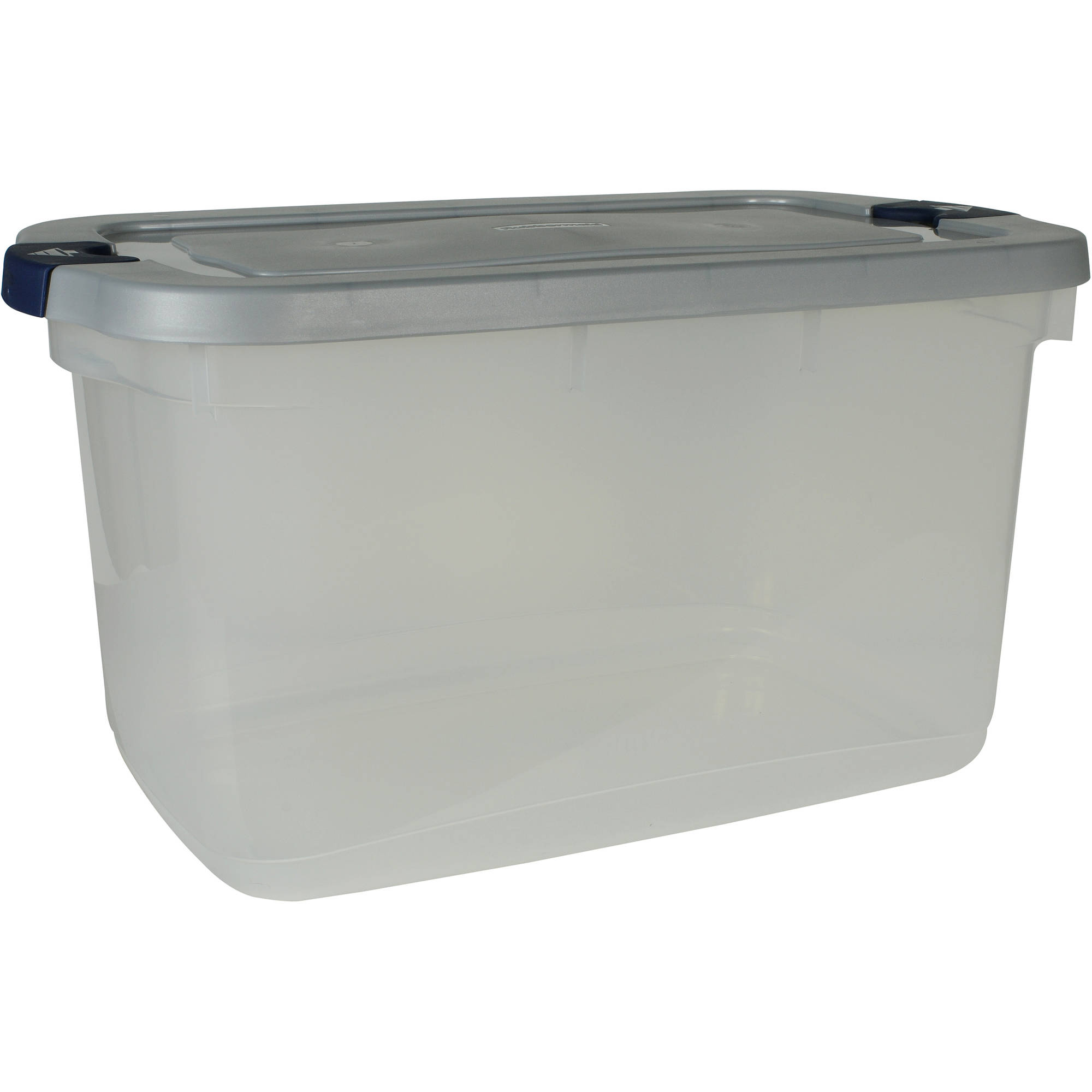 Rubbermaid Roughneck Clear Storage Tote Bins, 66 Qt (16.5 Gal), Clear with Gray Lid, Set of 4