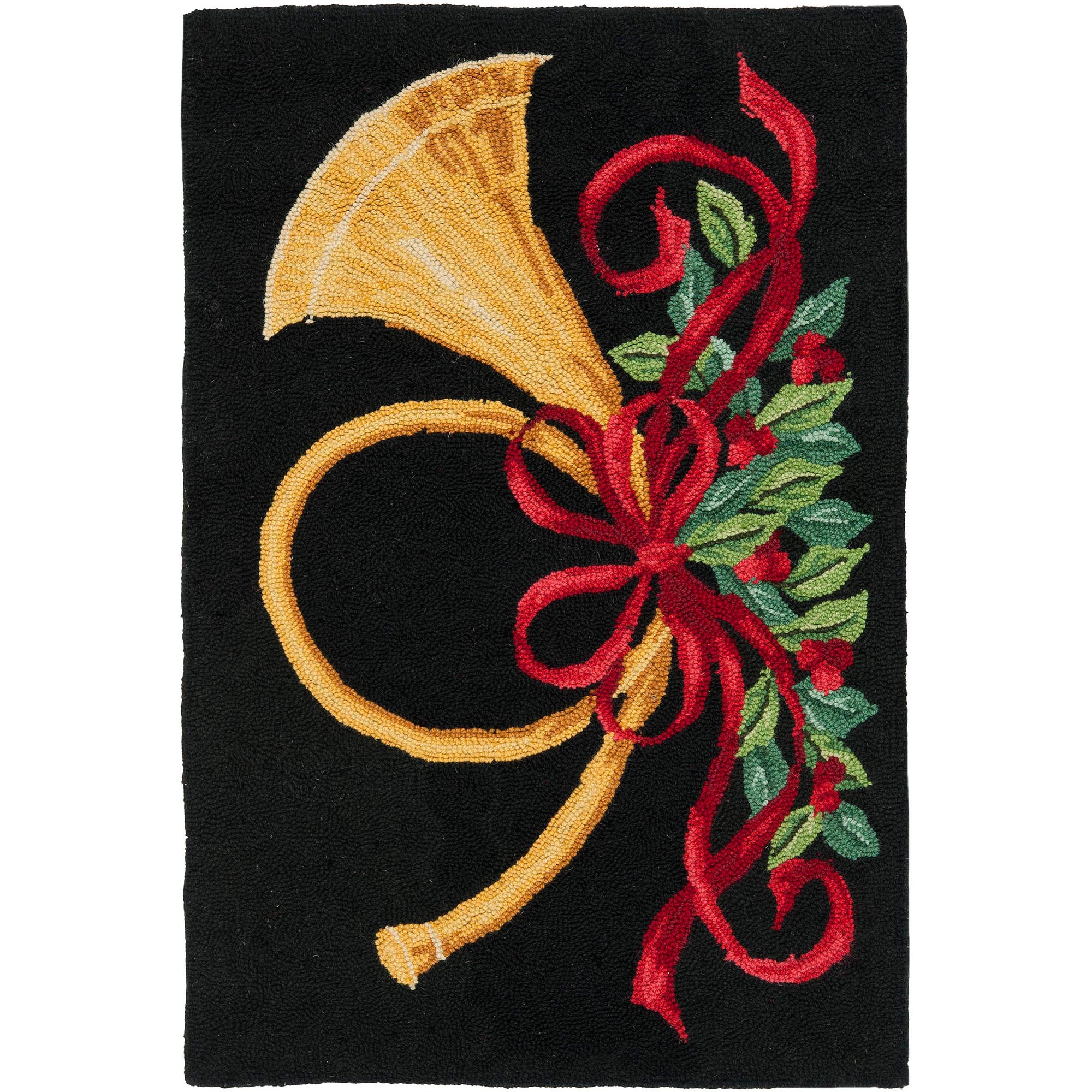 Safavieh Vintage Poster Ember Hand Hooked Wool Area Rug, Black and Multi-Colored