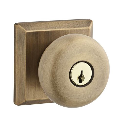 Baldwin Round Keyed Door Knob with Traditional Square Rose