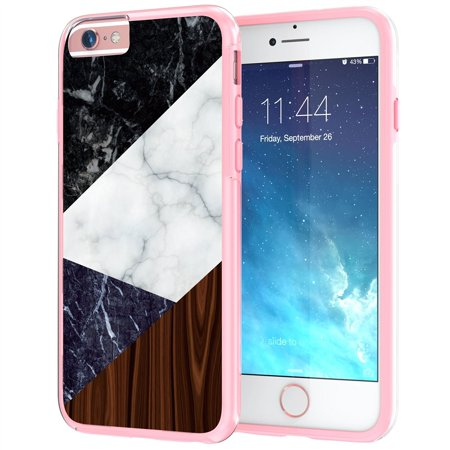 Iphone 6 6S Marble Case 4 7    True Color  White  Black  Blue  Marble   Wood Effect Printed Collage  Stone Texture Collection  Slim Hybrid Hard Back   Soft Tpu Bumper Protective Durable Cover