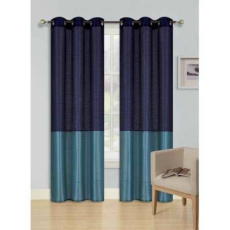 1pc NAVY BLUE TEAL HEIDI Faux Silk Drape Panel Top Chrome Metallic Grommet Window Curtain Treatment Drape 2 Shade 37 wide x 108 length ()
